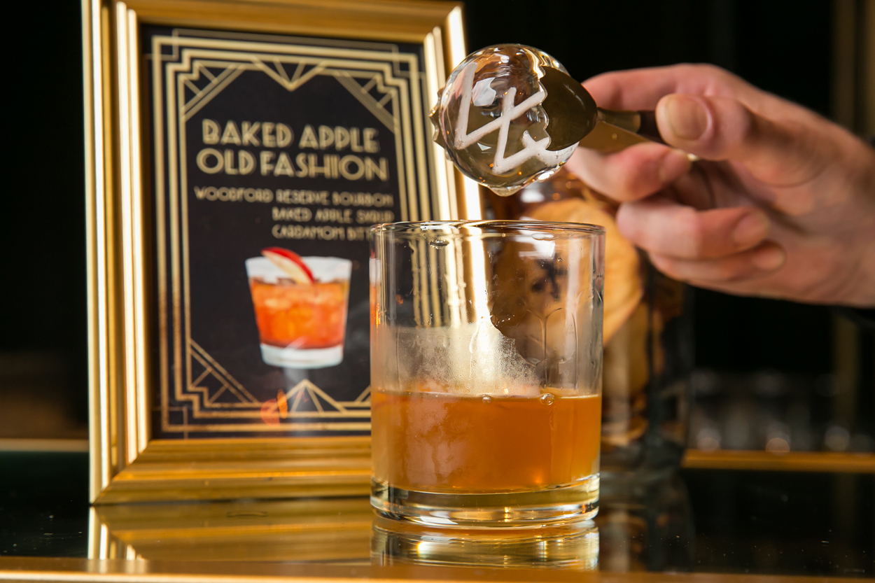 baked apple old fashion served with Wolfgang puck catering