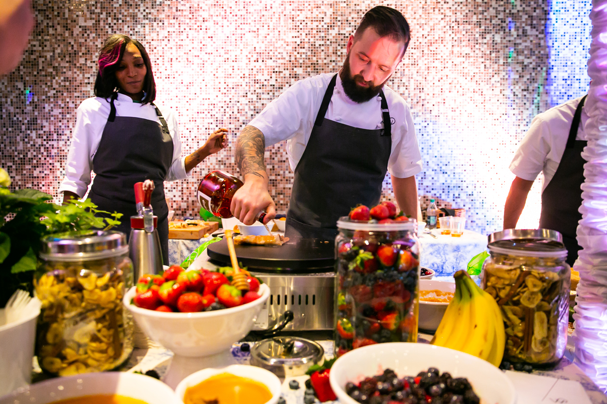 crepe station at Wolfgang puck catering events