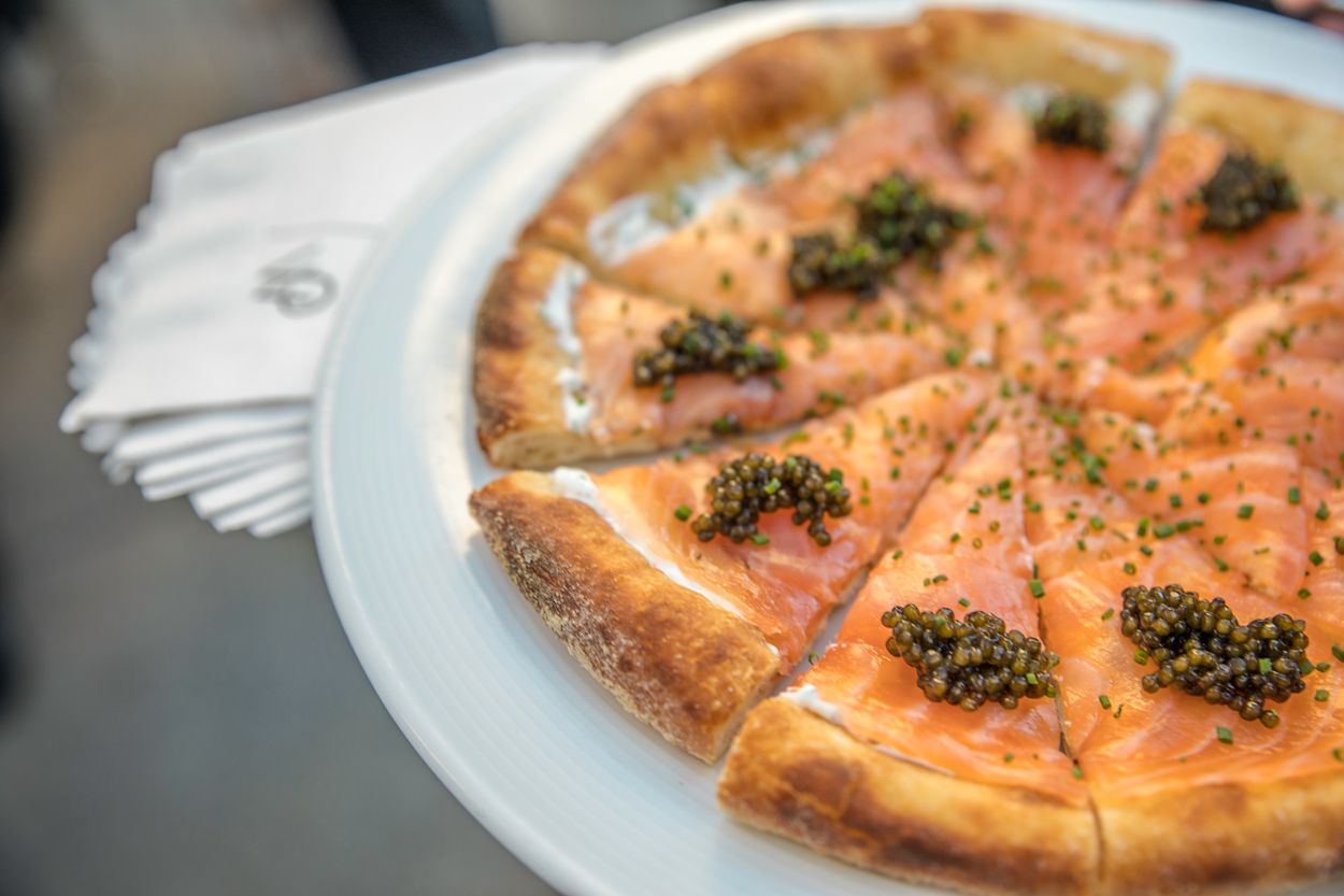 smoked salmon pizza from Wolfgang puck catering