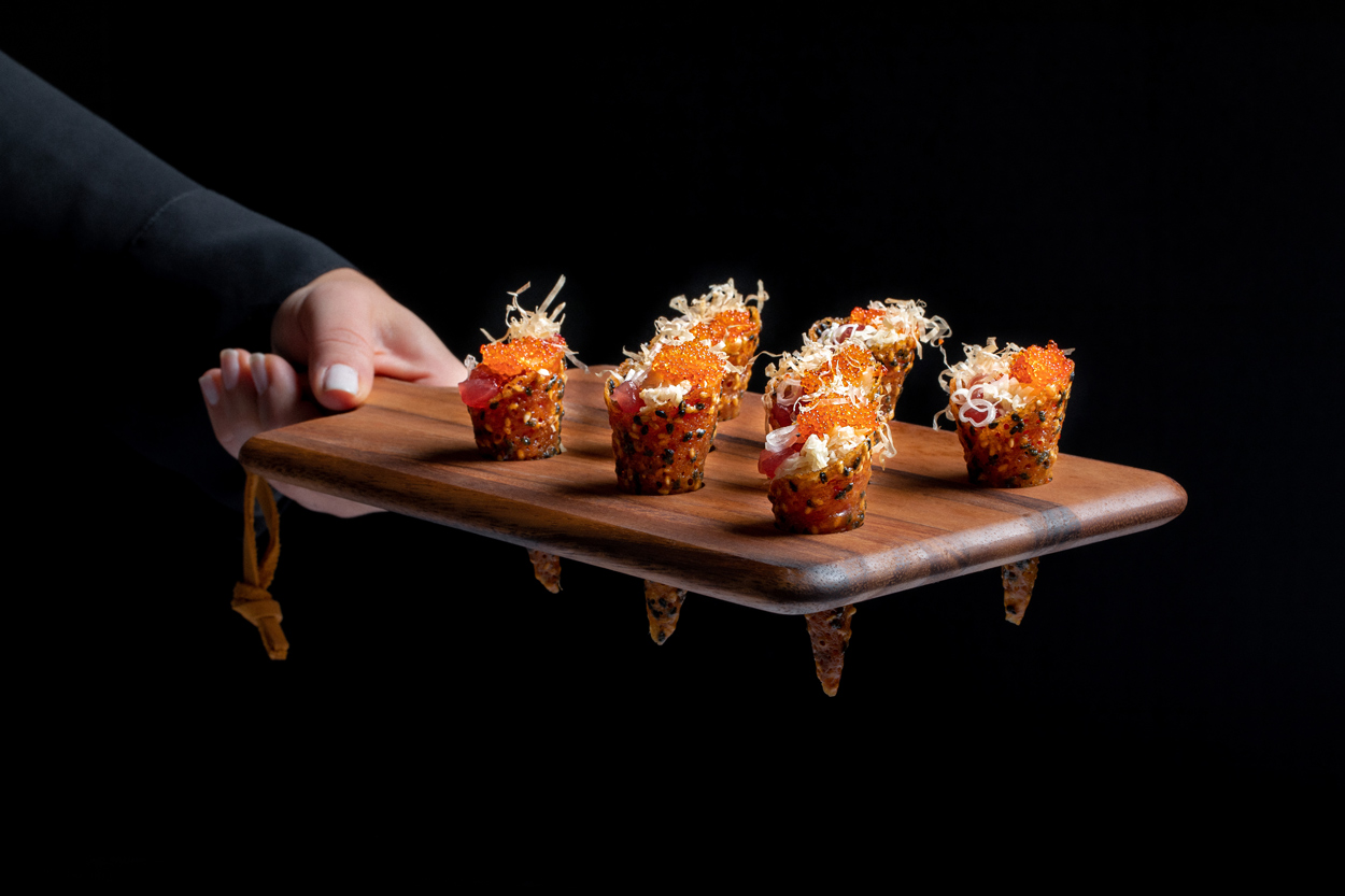 tuna cone from Wolfgang puck catering