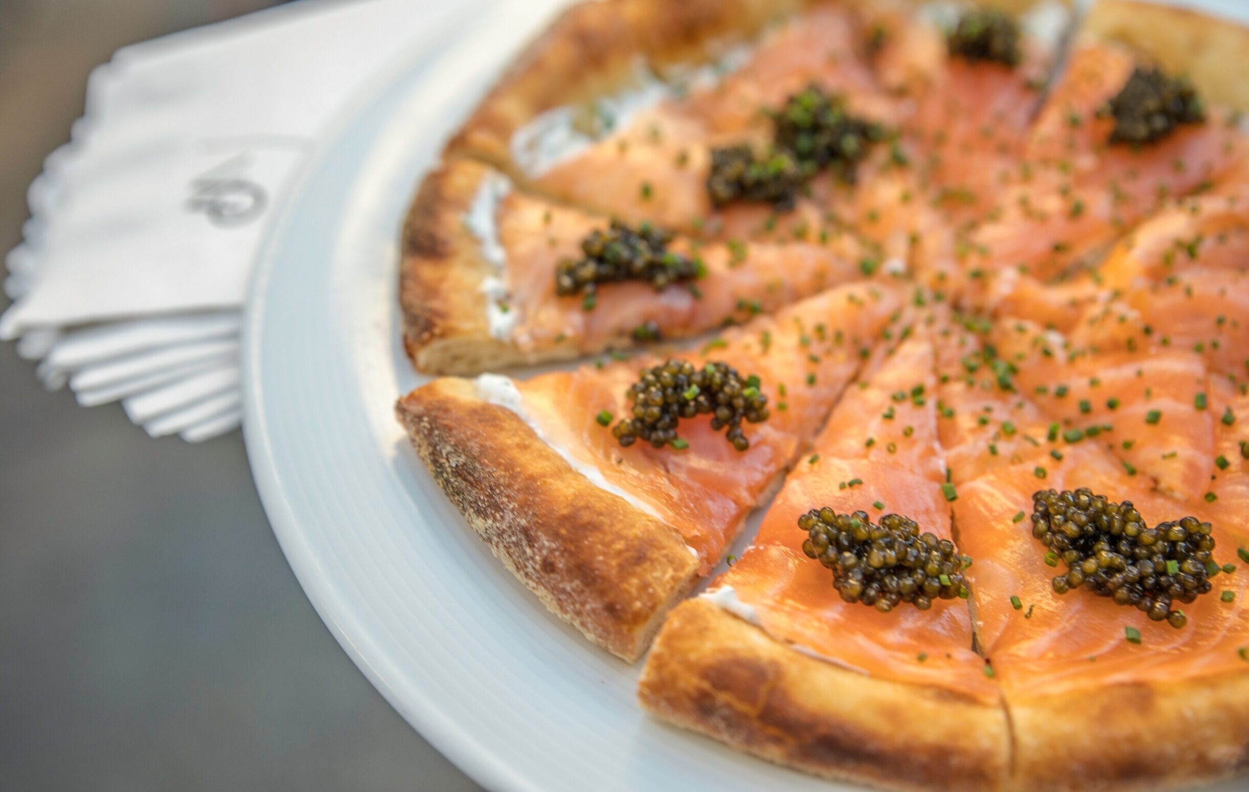 Texas Medical Center Wolfgang Puck Catering Spago Style Smoked Salmon Pizza